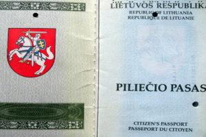 Первая страница паспорта Литвы