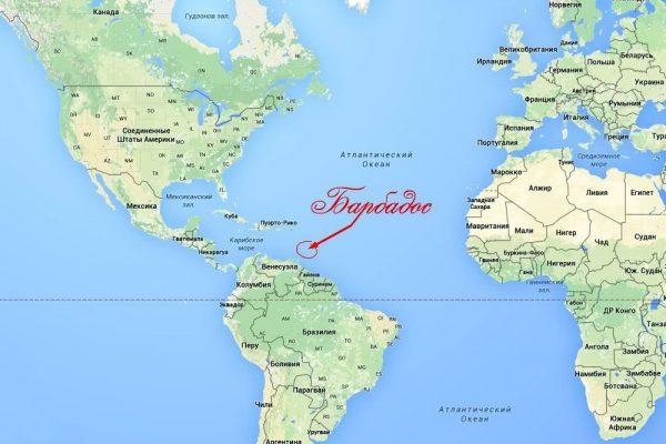 Барбадос на карте мира